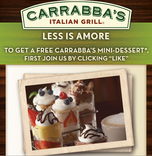picture about Carrabba's Printable Menu known as Carrabbas Italian Grill: Totally free Mini Dessert w/Entree