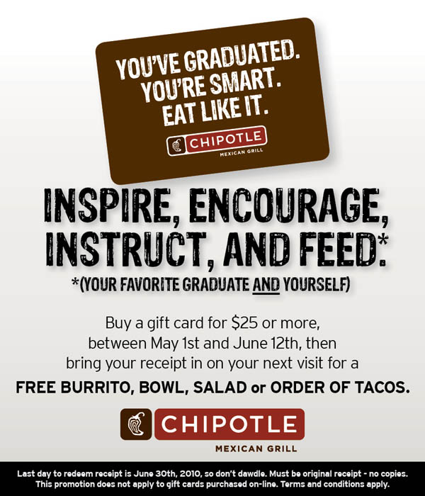 photograph relating to Printable Chipotle Menu identify Chipotle: Absolutely free Burrito, Bowl, Salad or Tacos w/$25 Present Card
