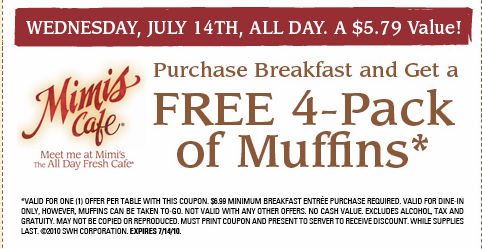 image relating to Mimi's Coupons Printable called Mimis Restaurant: Totally free 4 Pack of Muffins with Breakfast Invest in