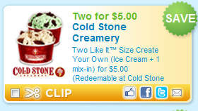 graphic about Cold Stone Printable Coupon known as Contemporary Printable Coupon: Chilly Stone Creamery $5 for 2 Build