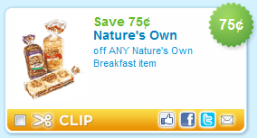 Wow! Hurry and save $ on Nature's Own Bread Products with this Printable Coupon! Hold them for an in-store deal! Be sure to grab your prints, head in-store, and save BIG!