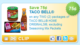 photograph about Taco Bell Printable Coupons titled Refreshing Printable Coupon: $0.75/2 Taco Bell Household Originals