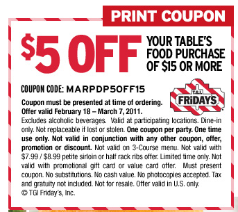 Tgi fridays discount coupon