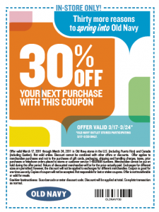 Old navy in store coupons january 2018