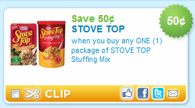 Stove Top Coupon | Stuffing for $1. Get ready for holiday meals with this deal from Target! Combine a store sale with a printable coupon to get Stove Top stuffing for $1 per box. Look through the Target weekly ad as well to find more current deals!