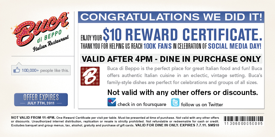 Open table coupon code