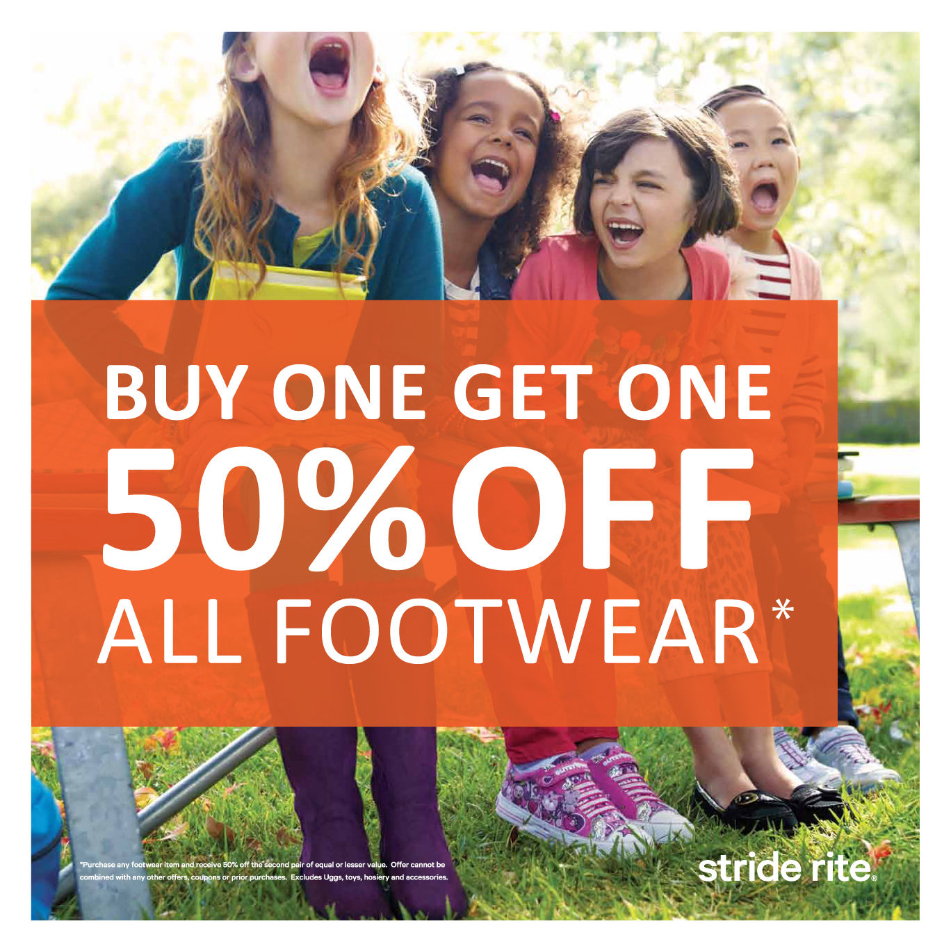 graphic regarding Stride Rite Coupon Printable titled Stride Ceremony Coupon Code: B1G1 50% Off On-line Inside Outlets