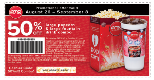 AMC Theaters Coupon 50 Off Large Popcorn Soda