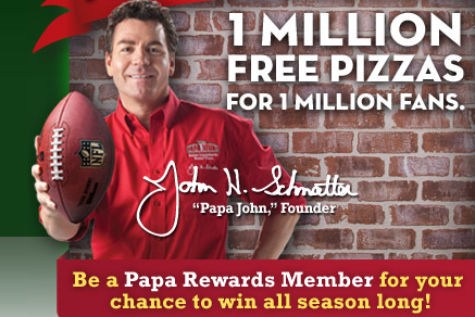 papa johns free pizza giveaway