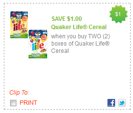 We have a great new printable coupon for the seasonal varieties of Quaker Oatmeal and Life Cereal. If you like the pumpkin and/or gingerbread flavored stuff, print this coupon now and hold it for a sale.