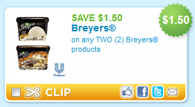 Shopping Tips for Breyers: 1. Who doesn't love a great deal on ice cream? Breyers Blasts ice cream cartons typically go on sale for around $3. The best manufacturer coupon for Breyers is $1 off, and if a store near you offers in-store coupons, you can save even more, especially during the winter months!