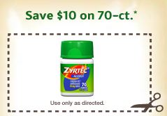 image relating to Zyrtec Printable Coupon $10 referred to as Refreshing Zyrtec Allergy Prescription drugs Coupon Preserve $10/1 - Stretching