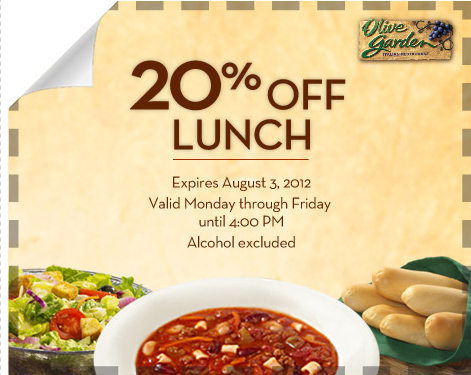 Olive Garden Coupon Save 20 Off Lunch Facebook Offer Stretching A Buck Stretching A Buck