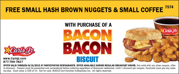 photograph about Carls Jr Coupons Printable titled Carls Jr. Coupon No cost Hash Brown Nuggets Reduced Espresso