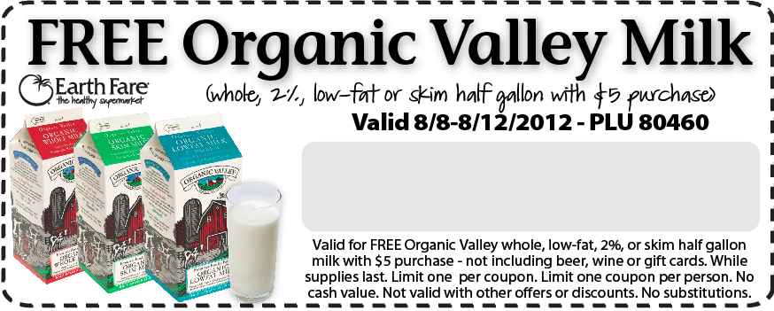 graphic about Organic Printable Coupons named Cost-free Natural and organic Valley Milk at Environment Fare (with invest in