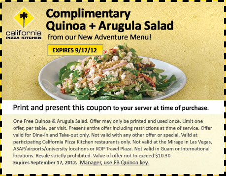 California Pizza Kitchen Coupon | FREE Quinoa + Arugula Salad ...