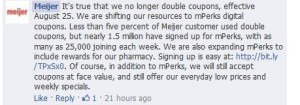 meijer facebook no more double coupons