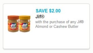 jif almond or cashew butter coupon