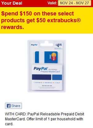 cvs paypal gift card deal