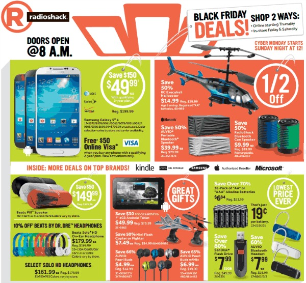 radio shack black friday ad deals 2013