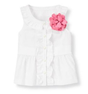 janie and jack white top pink flower