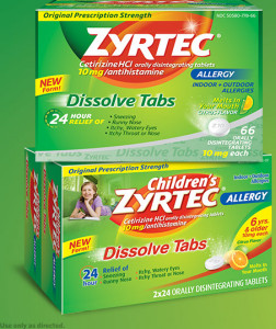 zyrtec seasonal allergies dissolvable tabs