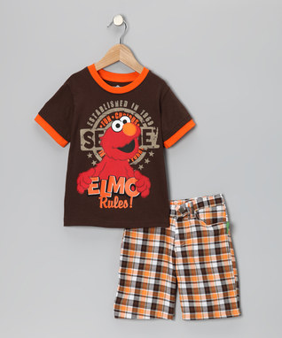 ! This is a cute Brown & Orange Elmo Tee & Shorts for only $9.99