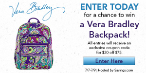 vera bradley backpack giveaway