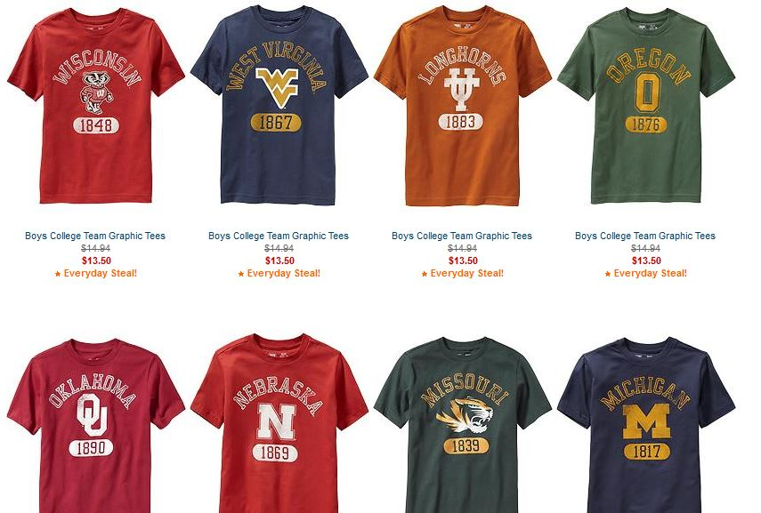 6d5be01698c7a Old Navy College Team T-Shirts for Kids - $13.50 each - Stretching a ...