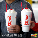 Thumbnail image for Sonic Drive-In | Half-Priced Shakes Today (12/22)