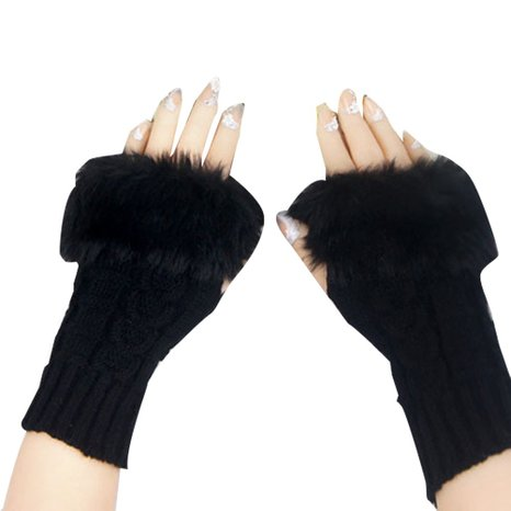 Women's Fingerless Knitted Gloves with Faux Fur for $3.98