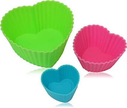 18 Heart Shaped Reusable Silicone Cups In 3 Sizes For 9