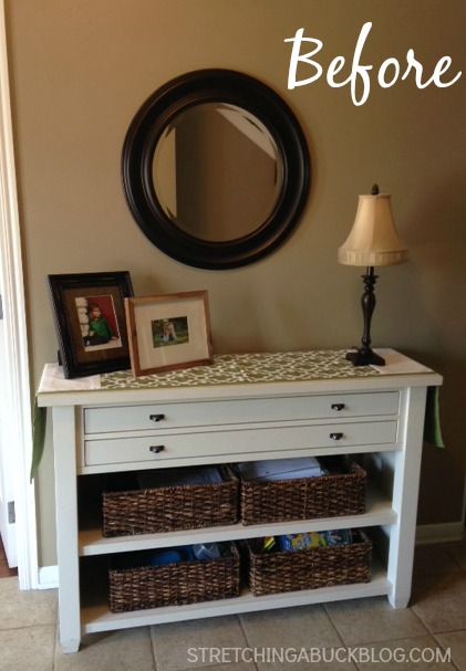 foyer table refresh frugal diy