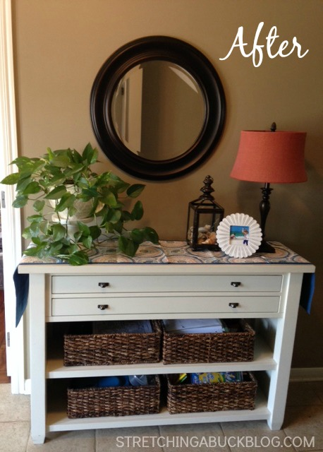 frugal diy foyer table refresh