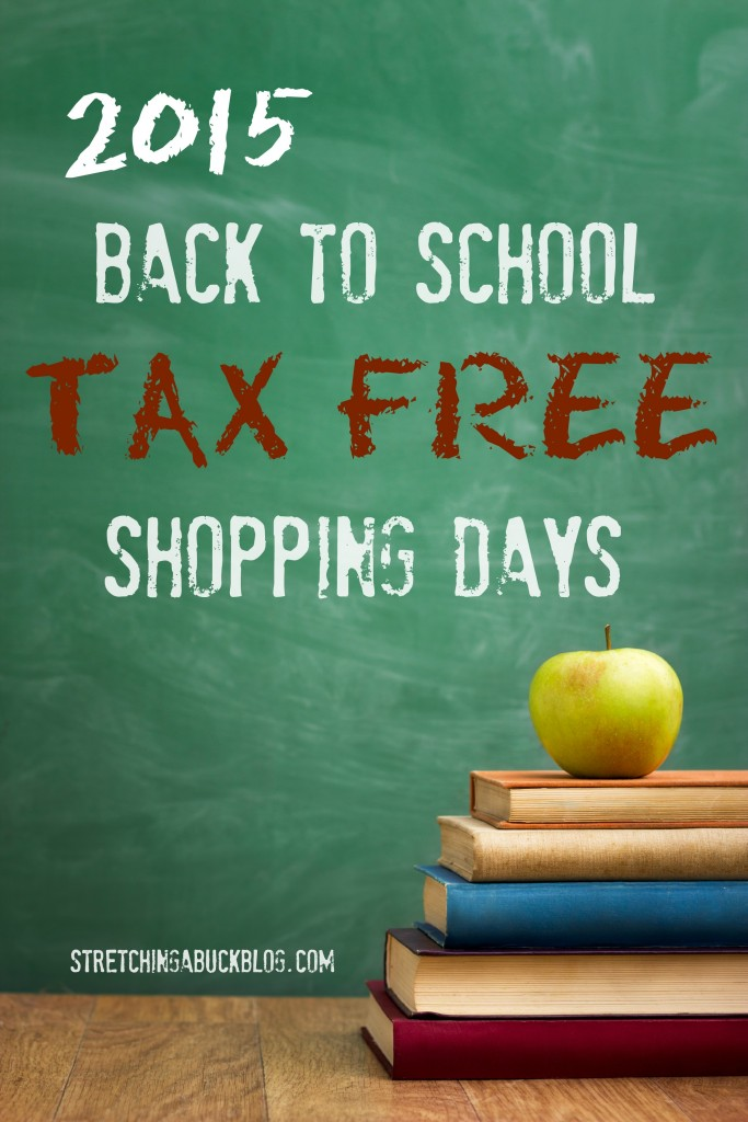 2015 back to school tax free shopping days