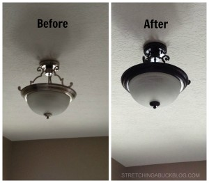 before after spray paint light fixture