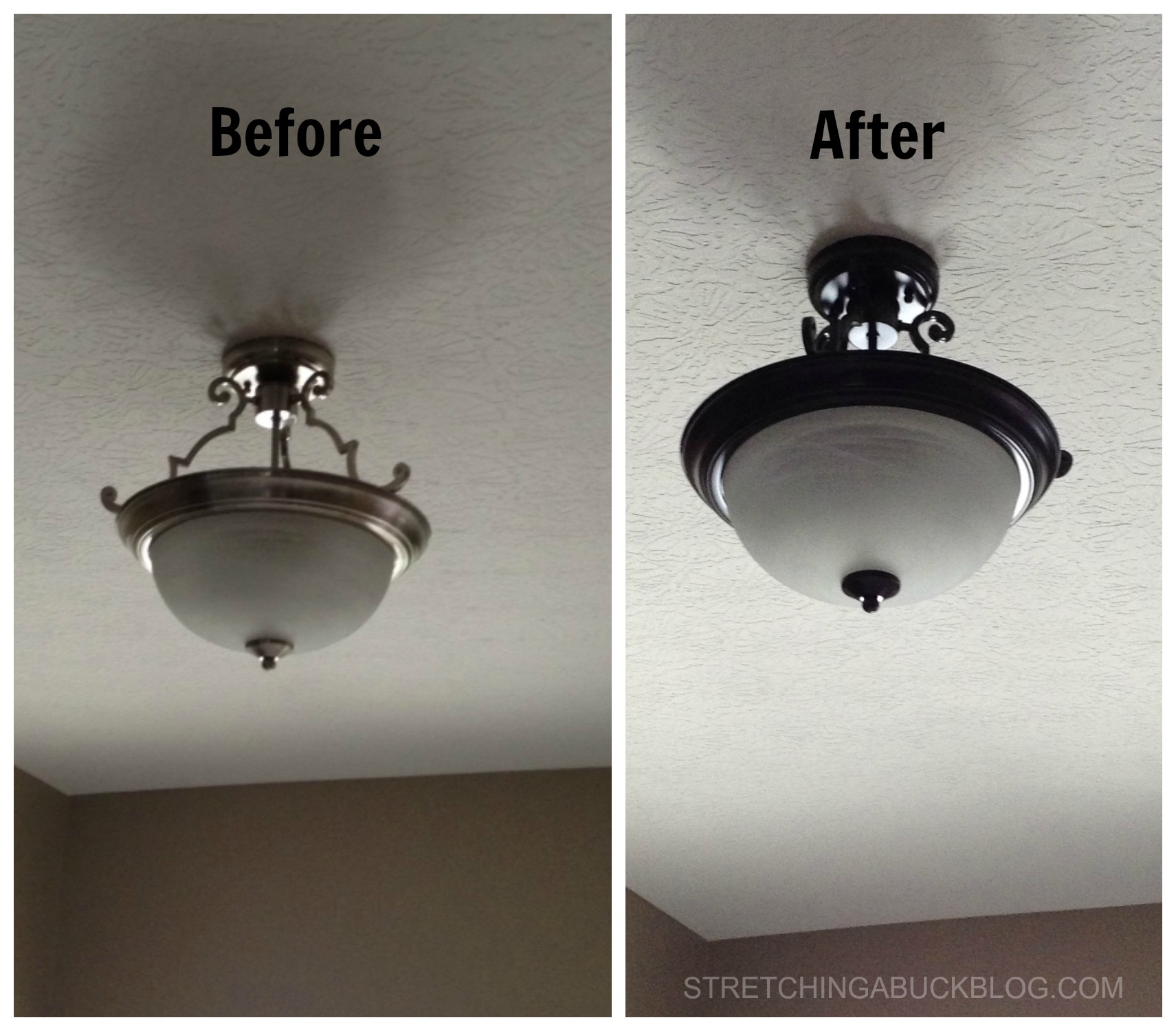 Perfect before after spray paint light fixture