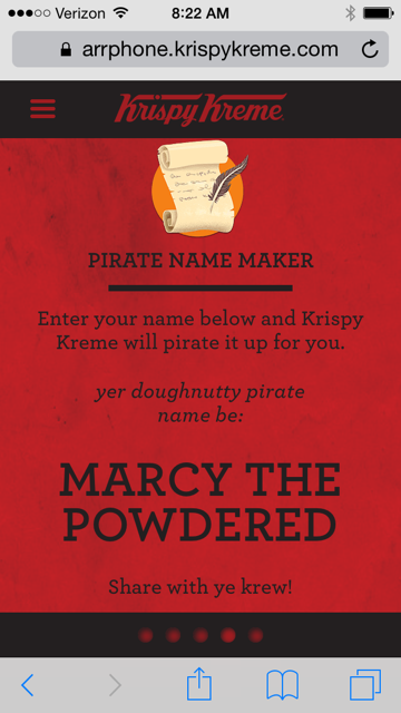 talk like a pirate day krispy kreme