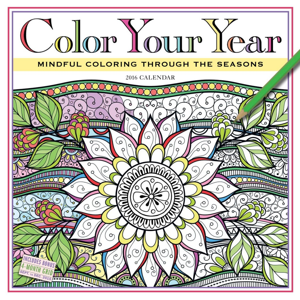 Color Your Year 2016 Calendar For 9 27 Great Gift Idea