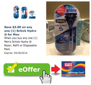 giant eagle schick hydro coupon deal