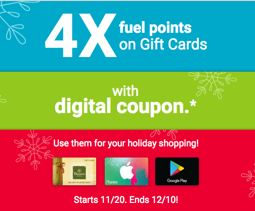 Earn 4X Fuel Points on Gift Card Purchases at Krog…