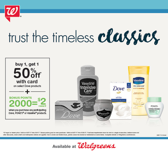 Walgreens Dove Vaseline Deals