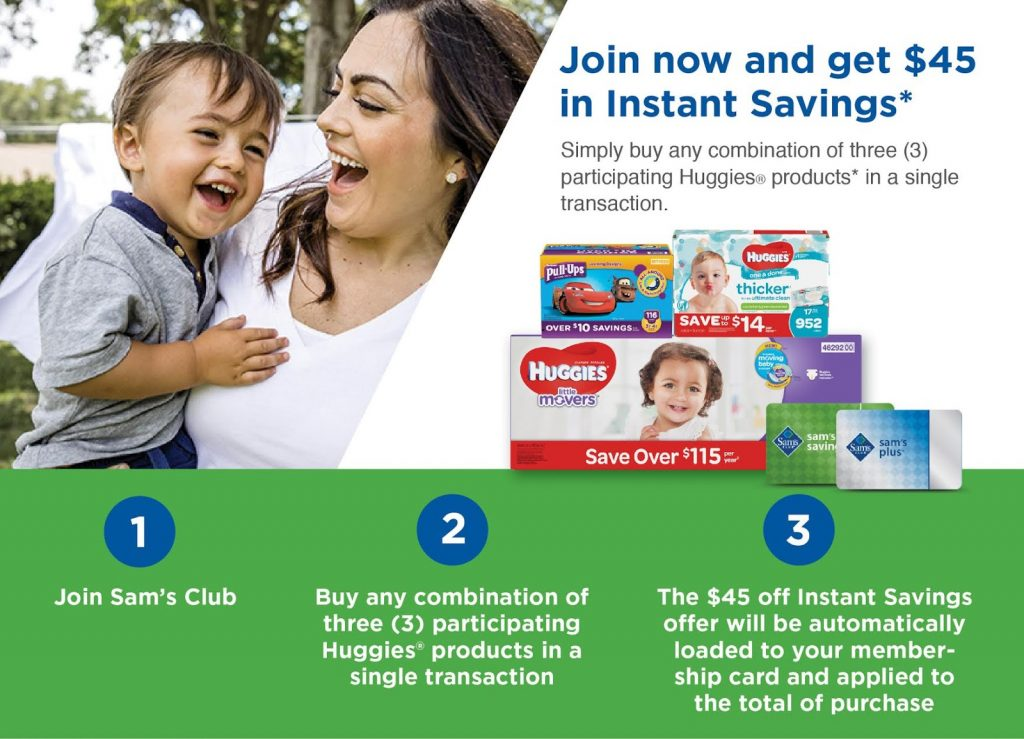 Save up to $45 on Huggies® Products at Sam's Club!