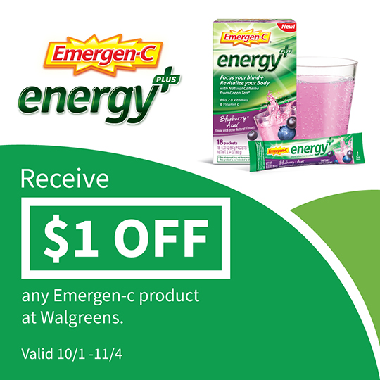 Save $1 on Emergen-C® Energy+ at Walgreens!