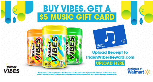 graphic relating to Trident Coupons Printable named Acquire Trident VIBES® Gum at Walmart, Attain a $5 iTunes Reward Card