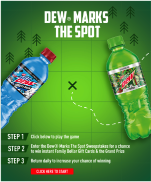 Enter the #DewMarksTheSpot Sweepstakes for a Chanc…